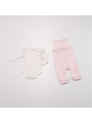 Комплект нательный для малыша BABALUNO. Цвет: розовый, кремовый