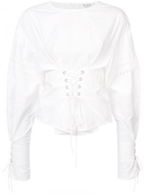 Eyelet lace up blouse Sea. Цвет: белый