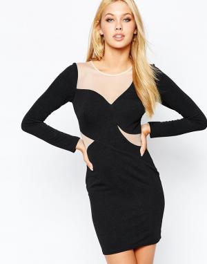 Lipsy Облегающее платье с сетчатой вставкой Illusion. Цвет: черный