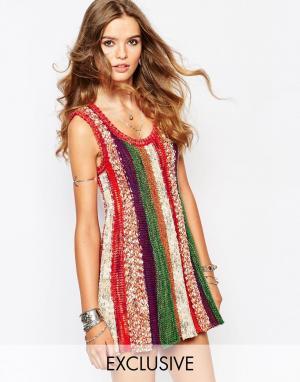 Spiritual Hippie Трикотажное платье-трапеция в полоску. Цвет: мульти