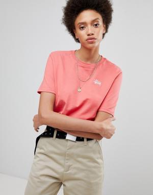 Stussy Оверсайз-футболка с небольшим логотипом на груди. Цвет: розовый