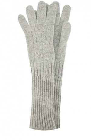 Перчатки из кашемира с фактурным узором Johnstons Of Elgin. Цвет: серый