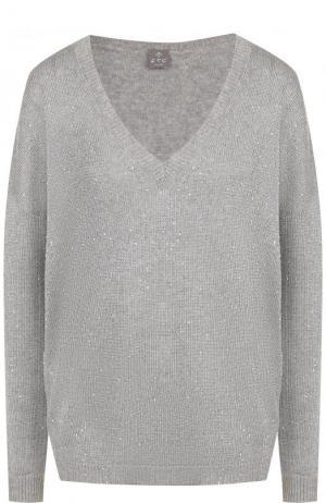 Кашемировый пуловер с V-образным вырезом FTC. Цвет: серый