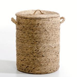 Корзина круглая из плетеных волокон эйхорнии. В60 см, Liane AM.PM.. Цвет: серо-бежевый