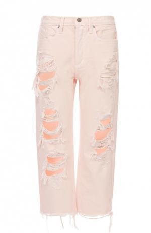 Укороченные джинсы прямого кроя с потертостями Denim X Alexander Wang. Цвет: розовый