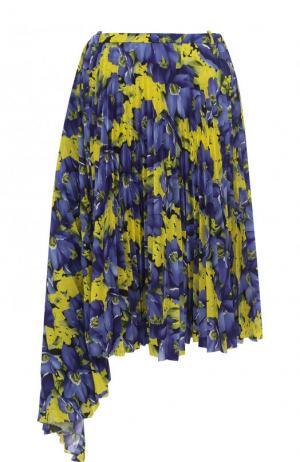 Плиссированная юбка-миди с принтом Balenciaga. Цвет: желтый