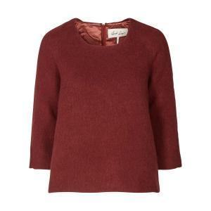 Пуловер с круглым вырезом из тонкого трикотажа AND LESS. Цвет: бордовый