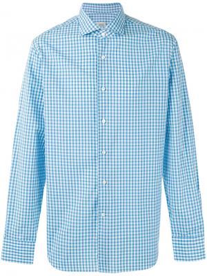 Рубашка в клетку гингем Alessandro Gherardi. Цвет: синий
