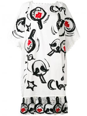 Платье-футболка с графическим рисунком Tsumori Chisato. Цвет: белый