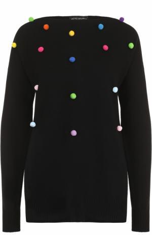 Кашемировый пуловер свободного кроя с круглым вырезом Pietro Brunelli. Цвет: черный