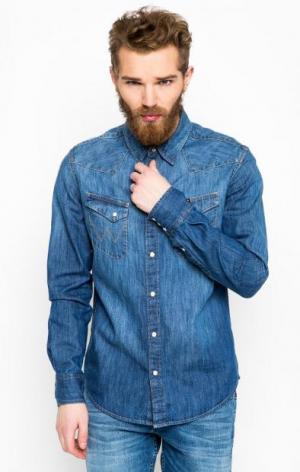 Джинсовая рубашка с двумя карманами Wrangler. Цвет: синий