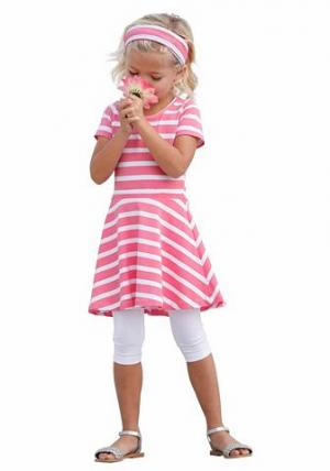 Комплект: платье + повязка на голову легинсы KIDOKI. Цвет: ярко-розовый в полоску