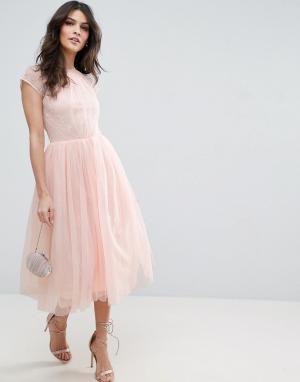 ASOS Платье миди для выпускного из кружевного тюля PREMIUM. Цвет: фиолетовый