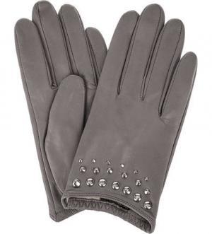 Кожаные перчатки с металлическим декором ELEGANZZA. Цвет: серый