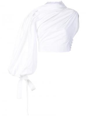 Асимметричная блузка со сборками Jacquemus. Цвет: белый