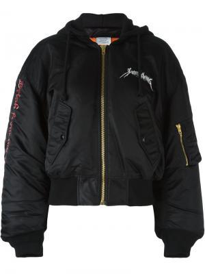 Куртка-бомбер с вышивкой Vetements. Цвет: чёрный