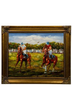 Картина Поло Helen & John Art. Цвет: коричневый, красный, зеленый