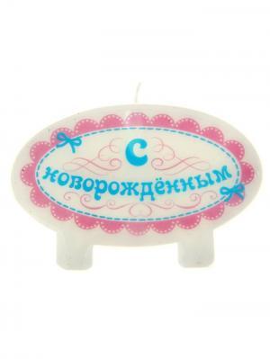 Свеча для торта А М Дизайн. Цвет: светло-голубой, молочный, фиолетовый