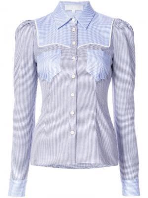 Рубашка в клетку гингем  с контрастными панелями Caroline Constas. Цвет: синий