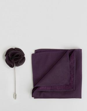 Gianni Feraud Шелковый платок и булавка для лацкана. Цвет: фиолетовый