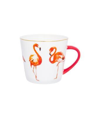 Кружка Коралловый фламинго Elan Gallery. Цвет: красный, белый, оранжевый
