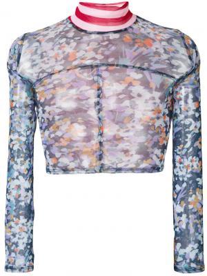 Укороченный топ с цветочным принтом Eckhaus Latta. Цвет: синий
