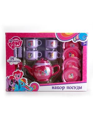 Набор посуды Играем Вместе My little pony пластиковый. Цвет: сиреневый, малиновый