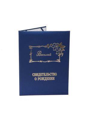 Именная обложка для свидетельства о рождении Василий Dream Service. Цвет: синий