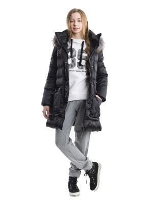 Пальто утепленное Gulliver. Цвет: черный