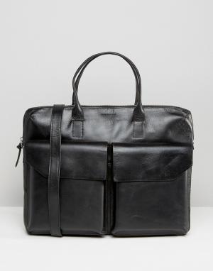 Royal RepubliQ Кожаная сумка для ноутбука с двумя карманами Courier. Цвет: черный