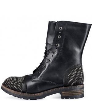Кожаные ботинки с металлической отделкой Felmini. Цвет: черный