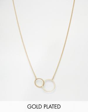 Pilgrim Ожерелье с двумя кольцами. Цвет: золотой