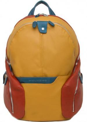 Вместительный желтый рюкзак PIQUADRO. Цвет: желтый