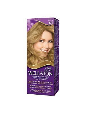 Крем-краска для волос стойкая 8/0 Песочный WELLATON. Цвет: фиолетовый