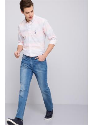 Рубашка U.S. Polo Assn.. Цвет: белый, оранжевый, синий