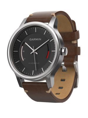 Умные часы vivomove Premium со стальным корпусом и кожаным ремешком GARMIN. Цвет: коричневый, серебристый, черный