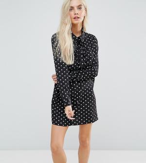 Glamorous Petite Платье-рубашка в горошек с длинными рукавами. Цвет: черный