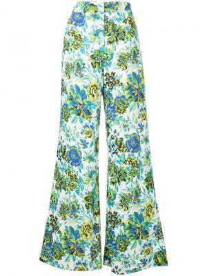Широкие брюки с цветочным принтом MSGM. Цвет: многоцветный