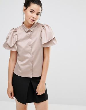 Sister jane Рубашка цвета металлик с короткими рукавами-оборками. Цвет: бежевый