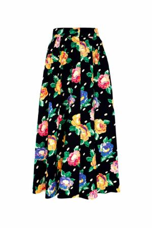 Хлопковая юбка (80-е) Emanuel Ungaro Vintage. Цвет: черный, желтый, синий, розовый