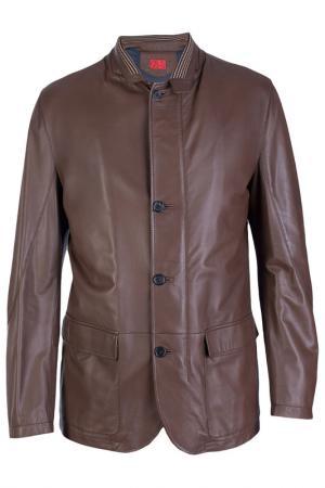 Кожаная куртка на пуговицах WonderLand. Цвет: коричневый