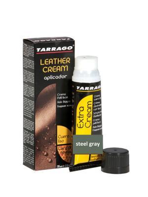 Крем тюбик с губкой Leather cream, БОЛЬШОЙ, 75мл. (steel gray) Tarrago. Цвет: серый