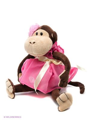 Обезьянка Верка в платье, 20 см MAXITOYS. Цвет: розовый