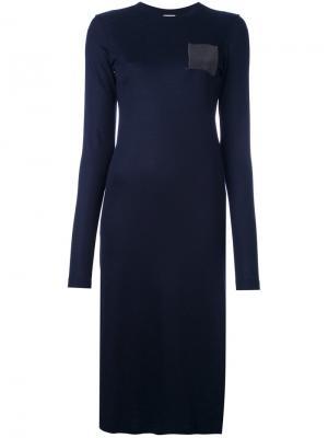 Платье-свитер с карманом Brunello Cucinelli. Цвет: синий