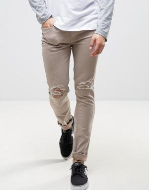 Kubban Серо-бежевые джинсы скинни. Цвет: коричневый