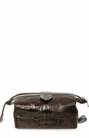 Кожаный несессер на молнии Truefitt&Hill. Цвет: коричневый