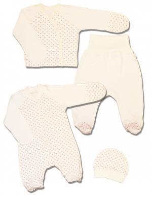 Комплект для новорожденного LalaBaby. Цвет: молочный
