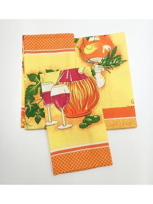 Набор полотенец, 4 шт A and C Collection. Цвет: желтый, оранжевый