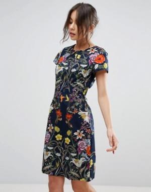 Uttam Boutique Платье с цветочным принтом. Цвет: темно-синий