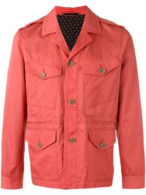 Куртка-рубашка с карманами карго Paul Smith. Цвет: розовый и фиолетовый